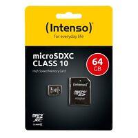 Intenso MicroSDXC Karte 64GB Speicherkarte Class 10 SD Card Adapter SDXC OVP