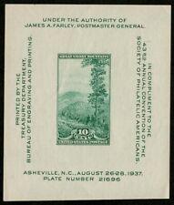 US 1937 #797 - 10c Souvenir Sheet Great Smoky Mountains National Parks OG MHR