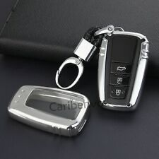 Silver Finer Smart Car Key Keychain Cover Holder For Toyota Camry Avalon RAV4