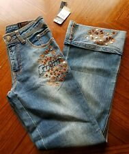 FUBU The Collection Womens Jeans Size 12 sequins design stone washed  NWT