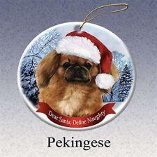 Holiday Pet Gifts Pekingese Santa Hat Dog Porcelain Christmas Tree Ornament