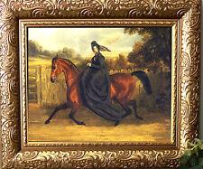 Sidesaddle HERRING Lady Horse Print Antique Styl Framed 11X13 Pony