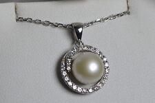 BNIB sterling silver pearl and cubic zirconia pendant on paperlink chain *sale*