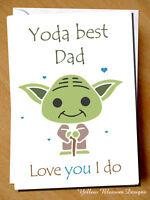 Funny Fathers Day Card Yoda Best Dad Love You I Do Star Wars Birthday Christmas
