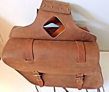 "New genuine brown cowhide leather motorcycle saddle bags 15""x 10""x 5""made USA"