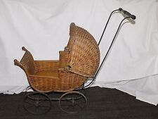 "VINTAGE ANTIQUE 28"" HIGH  EARLY 1900S WICKER PRAM BABY DOLL CARRIAGE"
