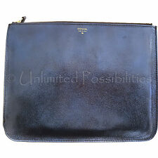 FOSSIL SL 4419681 Gift Metallic Large Pouch Clutch New Leather Navy Glitter Tags