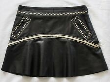 Roberto Cavalli Black Leather White Stitch A-Line Mini Skirt 42 6/8 MSRP $1745