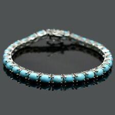 Natural Arizona Turquoise Gemstone 925 Sterling Silver Tennis Bracelet