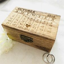 Wooden Wedding Ring Bearer Box Chic Retro Rustic Holder Personalized Month Date