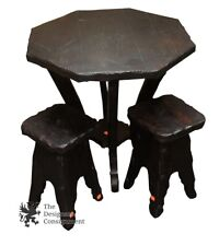Rustic Pine Side Table & Stool Set Childrens Game Table or Plant Stands Ebony