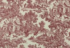 "WAVERLY HISTORIC TOILE RED #D4048 Country Toile Cotton Fabric BY YARD 72""WIDE"