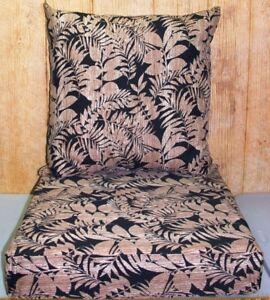 2 Pc Outdoor Deep Seat Chair Set ~ Black Tan Leaf ~ 22x22x7 / 23.5x24x5.25 *NEW*