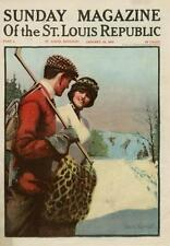 Ice Skating  -  Hockey  -  Romance   -  Cover  -  by George Gage   -   1914