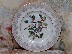"""LENOX 1988 Garden Bird """"Chickadee"""" Collection plate - Christmass Holly - MINT"""