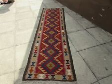 Kilim Vintage Traditional Hand Made Oriental Red Long Kilim Runner 287x80cm