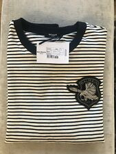 BALMAIN MENS Navy and Cream Striped Sweatshirt New with Tags Size L RRP £670