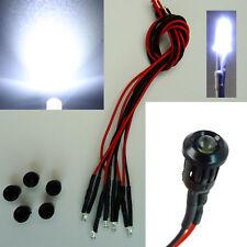 5 Stück LED 3mm Kaltweiß Kunststoff-Fassung Halter 9V - 12V Verkabelt
