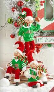 3-PK SPORTS POSABLE ELF SET University RAZ Christmas FUN 4102263 NEW