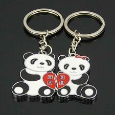 1 Pair Valentine's Day Metal Keyring Lover Couple Panda Keyfob Keychain