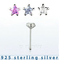 22g 3mm Star CZ Prong Set Nose Bone .925 Sterling Silver Nose Ring Stud (1pc.)