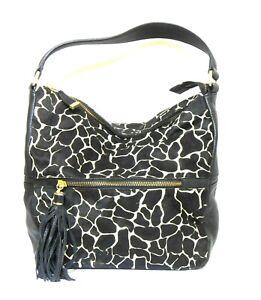 Saba black leather/pony skin shoulder bag, funky style