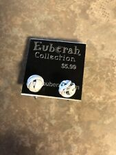 Euberah Collection Pierced Earrings White Knotted Push Back Closure Silver Tone