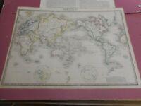 100% ORIGINAL LARGE WORLD MAP BY JAMES WYLD  C1849 VGC ORIGINAL COLOUR