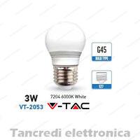 Lampadina led V-TAC 3W = 25W E27 bianco freddo 6000K VT-2053 miniglobo G45 bulbo