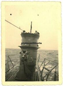Orig. Foto Turm der U-Boot U-620 Schiff mit Hufeisen auf See