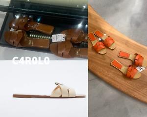 ZARA FLAT LEATHER CRISS-CROSS STRAP SANDALS REF. BROWN/ORANGE/ECRU / 1212/810