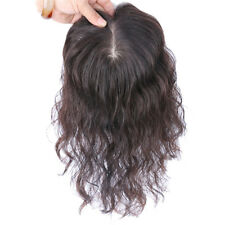 Silk Base Curly Hairpiece Clip in 100% Remy Human Hair Topper Toupee For Women