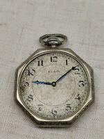 Antique Elgin 12s 7j Open Face Pocket Watch Grade 301 Gold Filled Case