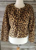 Jaune Rouge Faux Fur Leopard  Animal Print Jacket Coat Size L BNWT