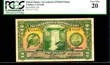 "BRITISH GUIANA P13b $2 1938 PCGS 20 ""TOUCAN BIRD"" RARE $2! PERFECT CENTERING!"