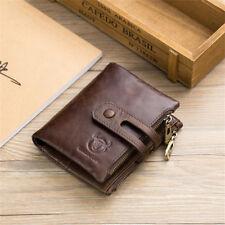 Herren Geldbörse Echtes Leder Portemonnaie Geldbeutel mit Reißverschluss RFID DE