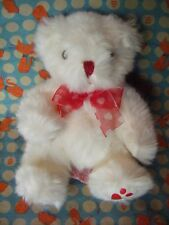 "RUSS BERRIE "" HEARTLEY ""  WHITE / RED BEAR 6"" APPROX  PLUSH, SOFT TOY - VGC"