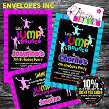 Personnalisé enfants trampoline invitations Fête ou notes de remerciements x 5