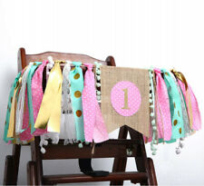 (Mint Pink Gold 1st Birthday) - WAOUH HighChair Banner for 1st Birthday -