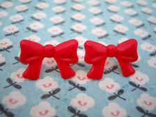 Funky Red Bow Earrings Cute Kitsch Retro KAWAII Sweet 50s Rockabilly Vtg Style