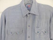 VTG Big E LEVIS Mens Blue Sawtooth LS Western Pearl Snap Shirt sz Small RARE
