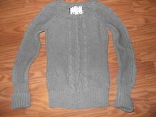 AMERICAN EAGLE womens sweater CABLE knit gray size S cotton EC