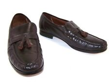 9c32f17c9c54 SEARS Mens Loafers Dark Brown Leather Tassel Slip On Shoes 74061 Size 9.5 D