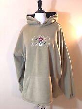 Ocean Beige Floral Embroidered Fleece Sweatshirt Hoodie Womens 2X B6