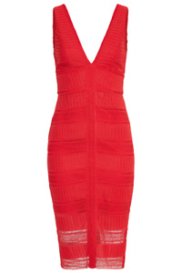 BARDOT Daria Lace Dress Ladies Red Plunge Neck Slim Fit Dress UK Size 12 BNWT