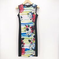Maggy London Womens Sheath Dress Black Green Floral Zip Stretch Sleeveless XS 4