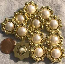 """12 Shiny Gold Tone PLASTIC & Faux Pearl Center Shank Buttons 13/16"""" 21MM # 3606"""