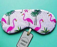 Eye Sleep Mask, Pink Flamingos Cotton Print Relax Travel Blackout UK made Gift