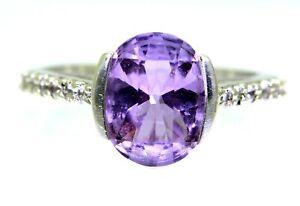 Pretty Amethyst & White Sapphire 9ct White Gold ring size N ~ 6 3/4