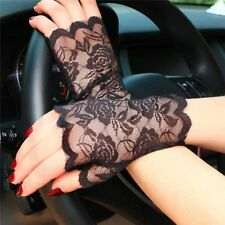 Black Lace Fingerless Gloves Mittens Mesh Short Floral Gothic Punk Fancy Dress